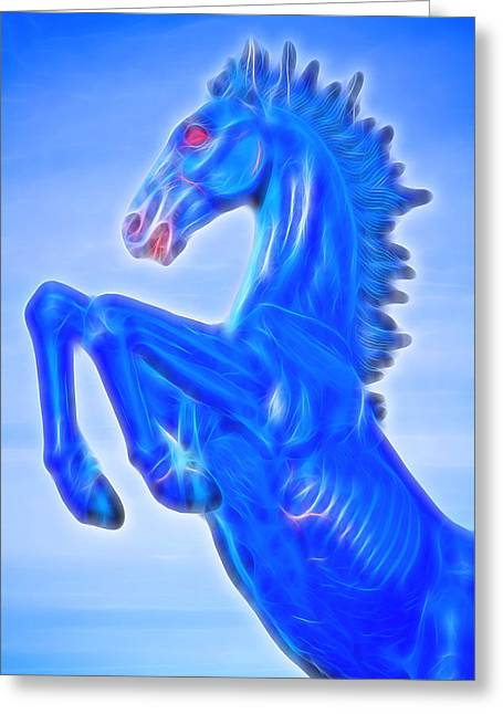 Blucifer The Rearing Blue Mustang Horse Greeting Card by James BO  Insogna