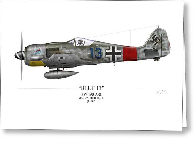 Blue 13 Focke-wulf Fw 190 - White Background Greeting Card by Craig Tinder