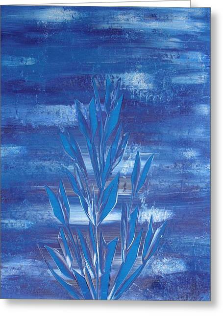 Greeting Card featuring the painting Blue 2 by Nico Bielow