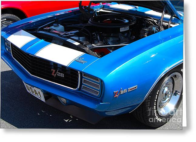 blue '69 Camaro Z28 Greeting Card
