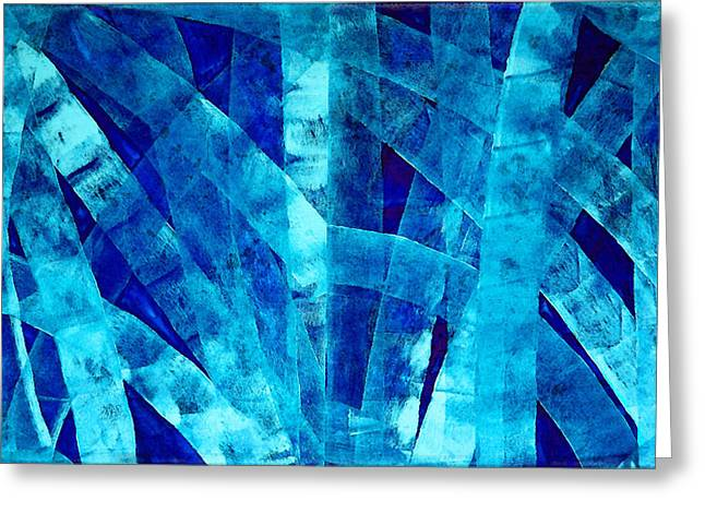 Blue Abstract Art - Paths - By Sharon Cummings Greeting Card