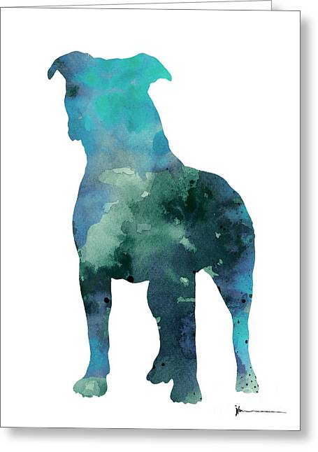 Blue Abstract Pitbull Silhouette Greeting Card by Joanna Szmerdt