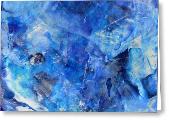 Blue Abstract Square Painting Blue Shades Modern Wall Art By Chakramoon Greeting Card by Belinda Capol