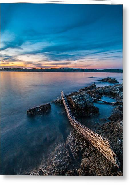 Blue Adriatic Evening Greeting Card by Davorin Mance