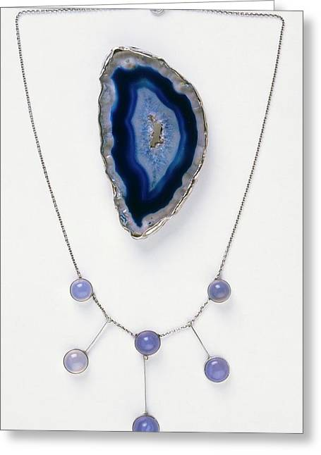 Blue Agate Brooch And Necklace Greeting Card
