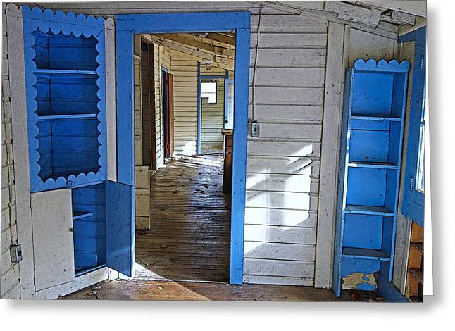 Abandoned Elkmont Cabin Old House Interior Greeting Card by Rebecca Korpita