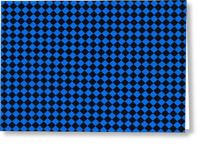 Blue And Black Checkered Pattern Cloth Background Greeting Card by Keith Webber Jr