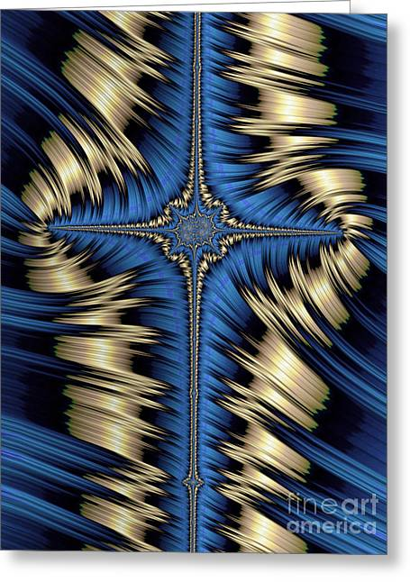 Blue And Gold Cross Abstract Greeting Card by John Edwards