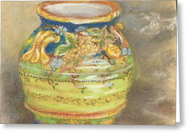 Blue And Gold Italian Pot Greeting Card by Harriett Masterson