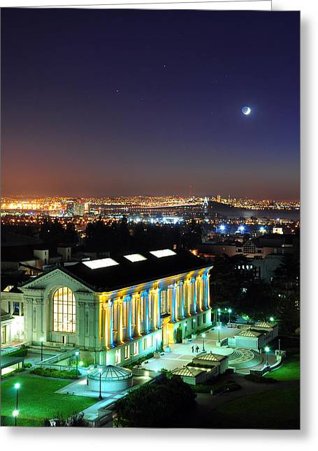 Blue And Gold Library And San Francisco Greeting Card