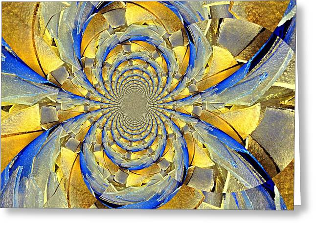 Blue And Gold Greeting Card by Marty Koch