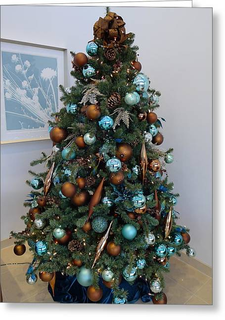 Greeting Card featuring the photograph Blue And Gold Xmas Tree by Richard Reeve