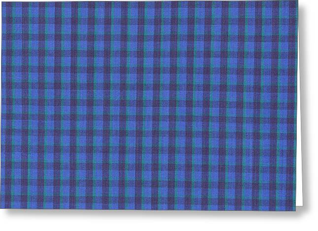 Blue And Green Checkered Pattern Fabric Background Greeting Card by Keith Webber Jr