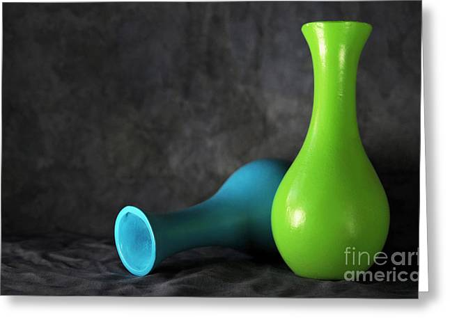 Blue And Green Greeting Card by Dan Holm