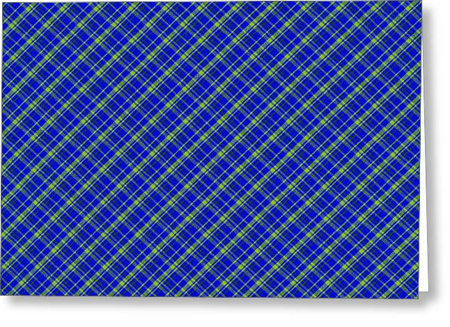 Blue And Green Diagonal Plaid Pattern Cloth Background Greeting Card by Keith Webber Jr