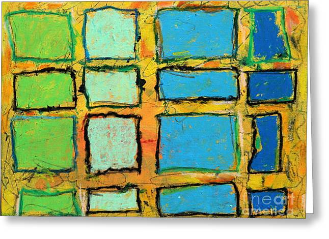 Blue And Green Windows Greeting Card by Kelly Athena