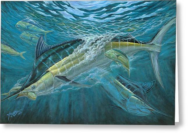 Blue And Mahi Mahi Underwater Greeting Card by Terry Fox