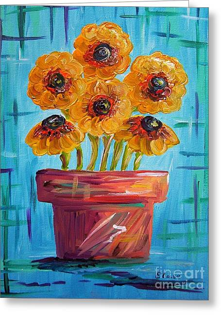 Blue And Orange - Flowers In Football Colors Greeting Card by Eloise Schneider