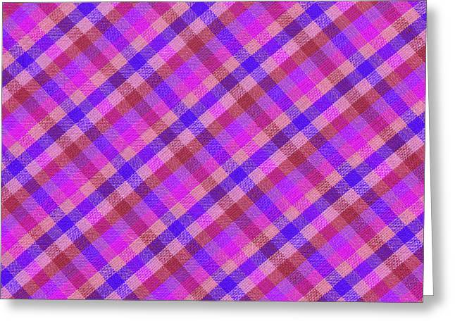 Blue And Pink Plaid Design Fabric Background Greeting Card by Keith Webber Jr