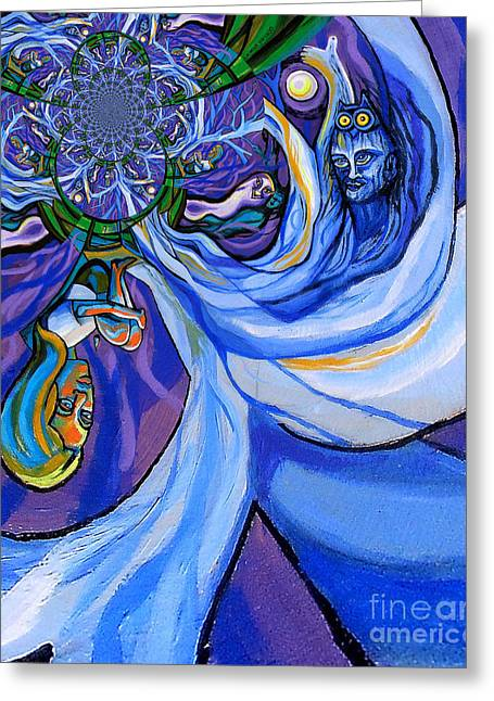 Blue And Purple Girl With Tree And Owl Upside Down Greeting Card by Genevieve Esson
