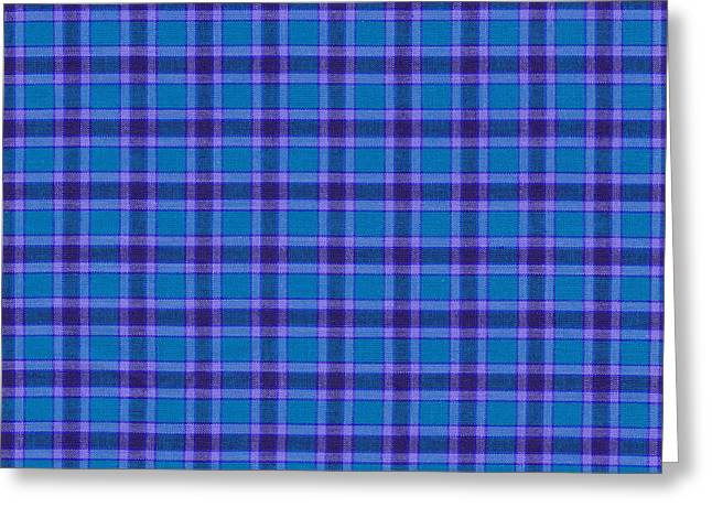 Blue And Purple Plaid Pattern Textile Background Greeting Card by Keith Webber Jr