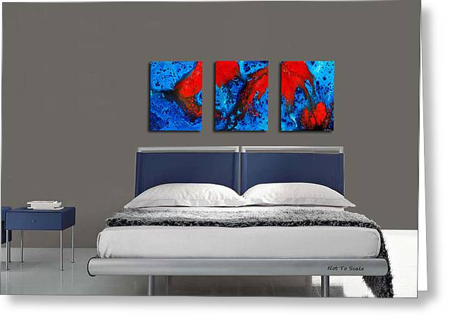 Blue And Red Abstract Hung As A Triptych Greeting Card by Sharon Cummings