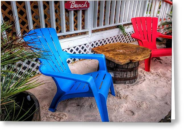 Blue And Red Chairs Greeting Card by Michael Thomas