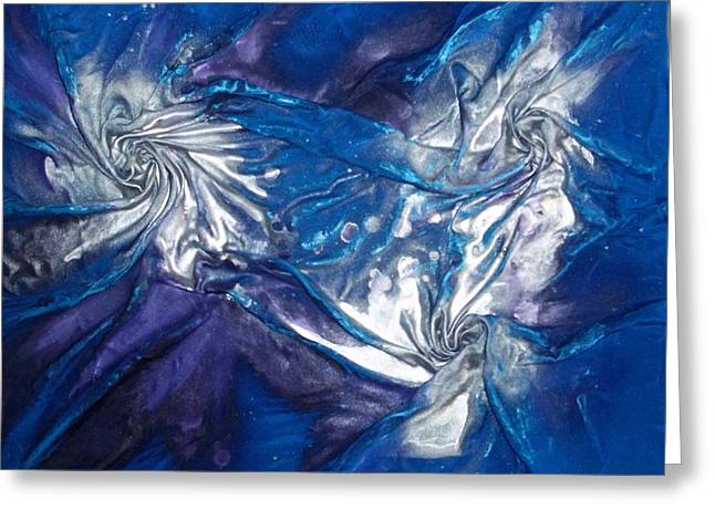 Greeting Card featuring the mixed media Blue And Silver Twin 2 by Angela Stout