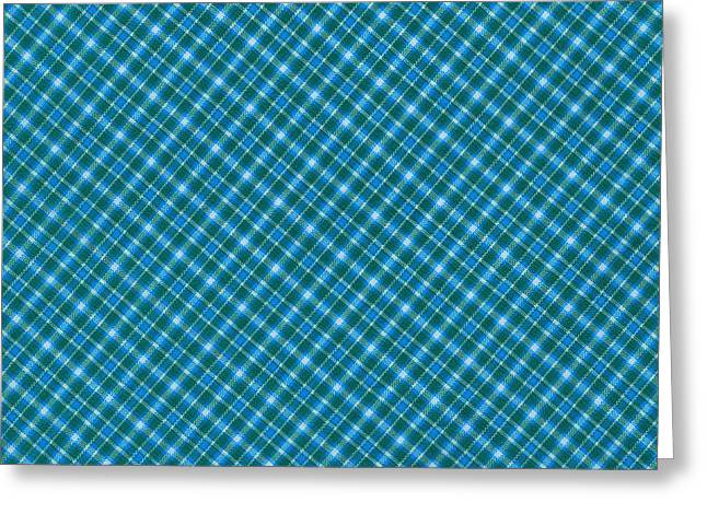 Blue And Teal Diagonal Plaid Pattern Textile Background Greeting Card by Keith Webber Jr