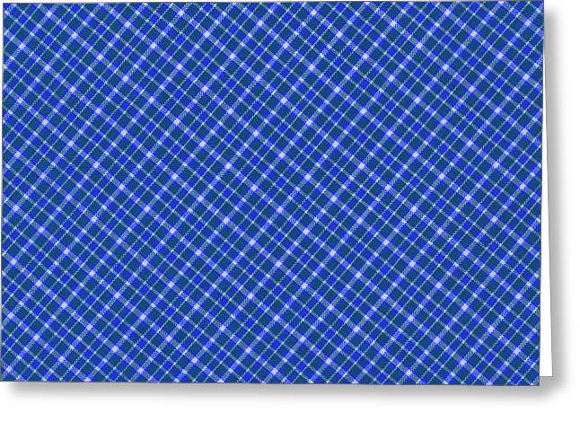 Blue And White Diagonal Plaid Pattern Cloth Background Greeting Card by Keith Webber Jr