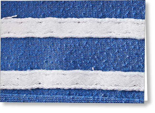 Blue And White Fabric Greeting Card