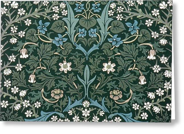 Blue And White Flowers On Green Greeting Card by William Morris