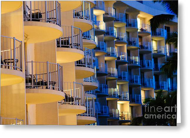 Blue And White Hotel Balcony Abstract. Greeting Card