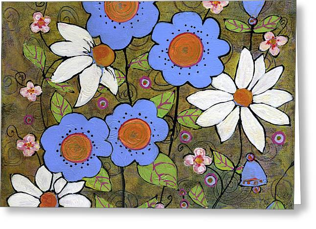 Blue And White Mod Flowers Greeting Card by Blenda Studio