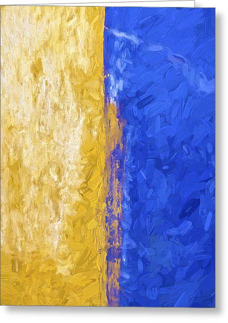 Blue And Yellow Abstract Greeting Card by David Letts