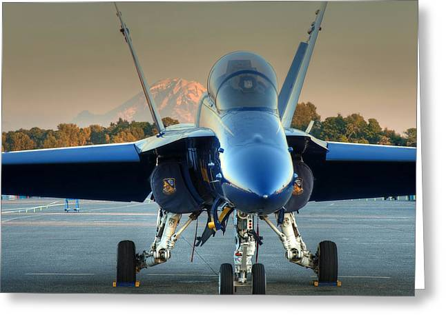 Blue Angel At Sunset Greeting Card by Jeff Cook