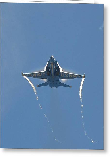 Greeting Card featuring the photograph Blue Angels Ghost Appears Head-on Over Pensacola Beach by Jeff at JSJ Photography