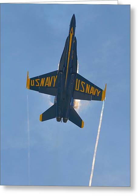 Greeting Card featuring the photograph Blue Angels Ghost Appears Over Pensacola Beach by Jeff at JSJ Photography