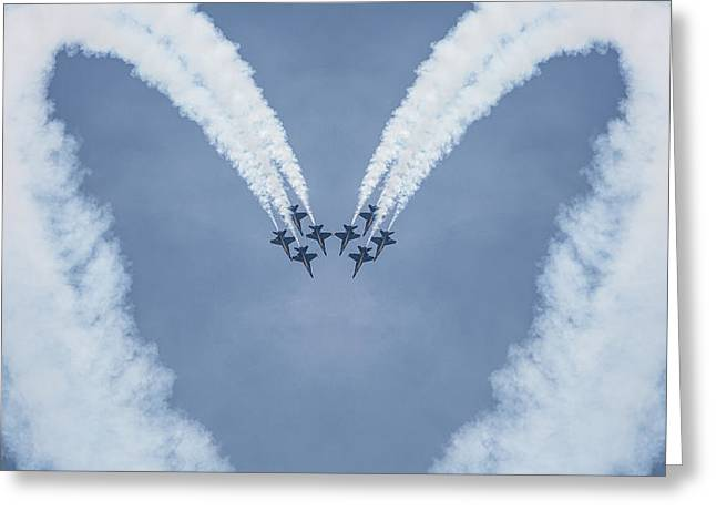 Blue Angels Love Greeting Card by Dale Kincaid