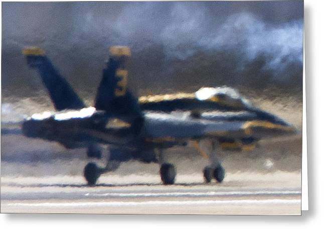 Blue Angels Number 3 On The Runway Greeting Card