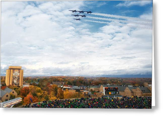 Blue Angels Over Notre Dame Stadium Greeting Card