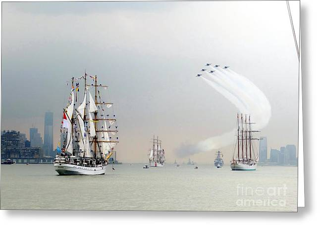 Blue Angels Over Ships N.y.c. Greeting Card by Ed Weidman