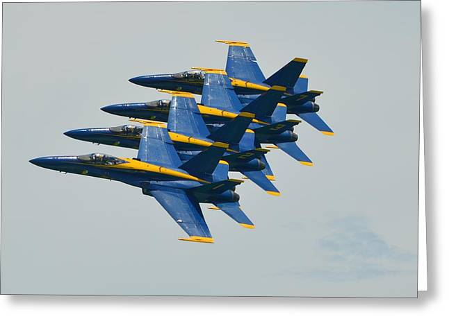 Greeting Card featuring the photograph Blue Angels Practice Echelon Formation by Jeff at JSJ Photography