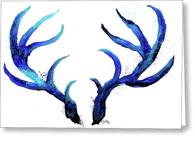 Blue Antlers Greeting Card