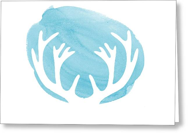 Blue Antlers Greeting Card by Marion De Lauzun