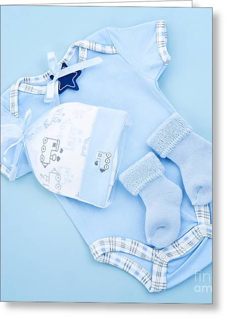 Blue Baby Clothes For Infant Boy Greeting Card by Elena Elisseeva