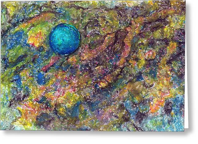 Blue Ball In Space Greeting Card by Yuri Lushnichenko