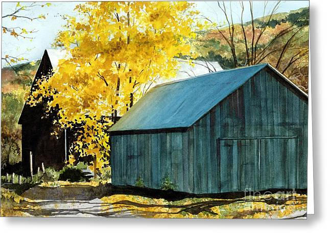 Blue Barn Greeting Card by Barbara Jewell