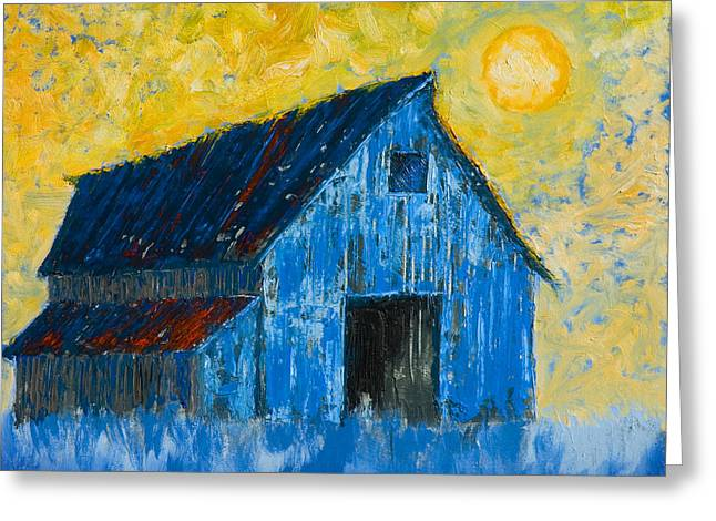 Blue Barn Number One Greeting Card by Jerry McElroy