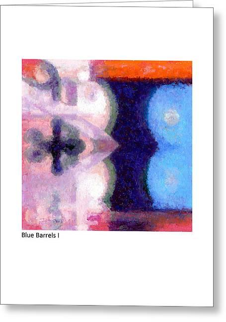 Blue Barrels I Greeting Card